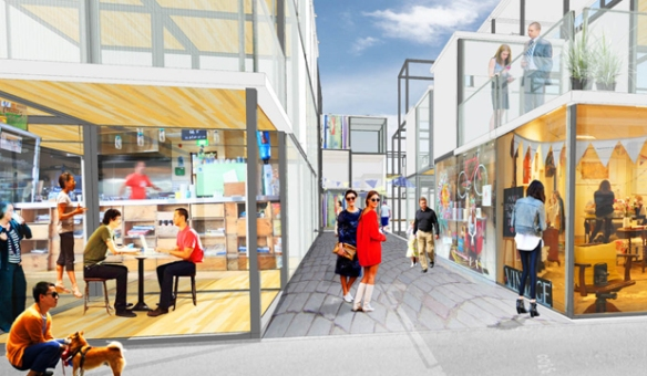 BOXED IN: An artist's impression of the Boxed Quarter to be built on the corner of Madras and St Asaph streets in Christchurch.